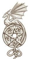 Dragon knotwork pentacle by IrishArtiste
