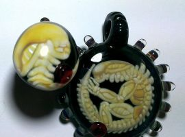 Xenomorph Glass Pendant #2 and ring by wickedglass