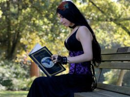 Stock - Gothic Girl Reading by Mahafsoun