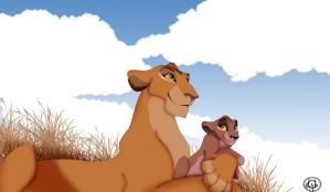 Zira and her Mother by dyb