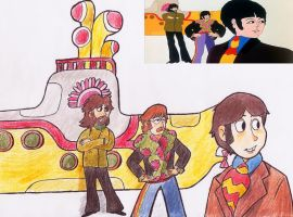 Redrawing: Yellow Submarine Scene by KabouterPollewop