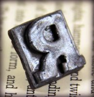 Old Printing Type Tie Tack by NeverlandJewelry