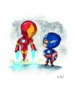 Ironman and Captain America by benbyrdart