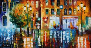 The city of rain by Leonid Afremov by Leonidafremov