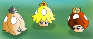 Peach Daisy Rosalina Power ups TF by EduartBoudewijn