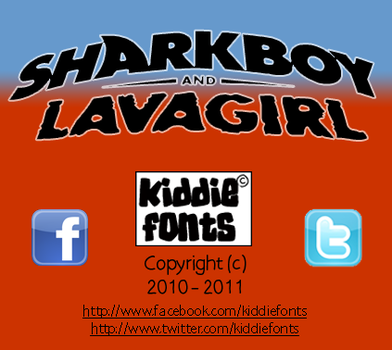SHARKBOY and LAVAGIRL Font by Kiddiefonts