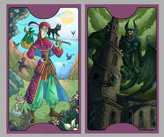 .Lovecraft Tarot: The Fool +The Tower. by MalakiaLaGatta