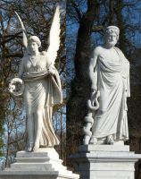 angel and man statues by two-ladies-stocks