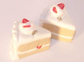 Strawberry cake slice charm by PookieTookieJewelry