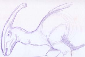 Parasorolophus sketch -1 by BAC-of-all-trades