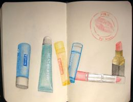 lip balm, lip gel, lipstick and lip gloss by wwei