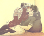 Avialae: nerds smoochin by llllucid