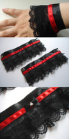 Red Gothic Lolita Wrist Cuffs by MangaAnimeLover