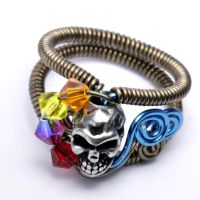Multicolor Skull ring by CatherinetteRings