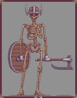Skeleton warrior Pixelart by SaintBonkers