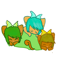 sleeping kitties by kittenScientist