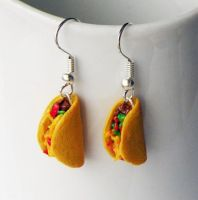 Handmade Taco Earrings by AsianBunni