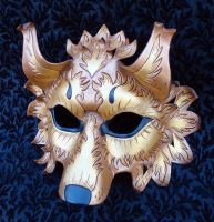 Gold Fantasy Wolf Mask by merimask