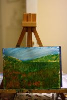 Grassy Field On Easel by Nat-photography