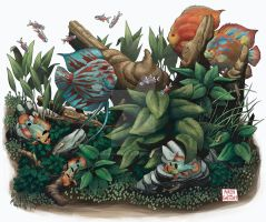 Right Panel of Planted Aquarium Triptych Poster by aaronjohngregory