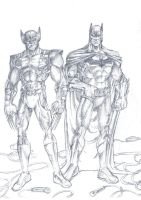wolverine and batman pencil by phil-cho