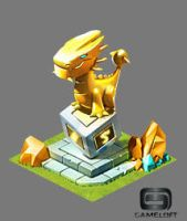 Golden dragon statue by Pablocomics