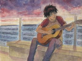 Request: Red, playing guitar by coloridium