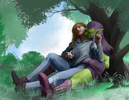 Gaby and the Green Goblin color by hattonslayden