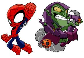 Spidey and Green Goblin by AgentBiLL