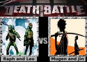 Death Battle: Raph and Leo vs Mugen and Jin by SpikeJet2736