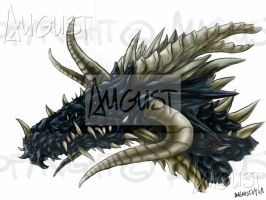 'Black' Dragon's head by AugustAnna