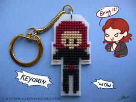 Black Widow cross stitch keychain by caycowa