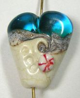 Beach Heart Lampwork Focal by eerok1955