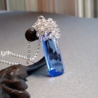 Blue Topaz and Quartz Pendant by Gweyeni