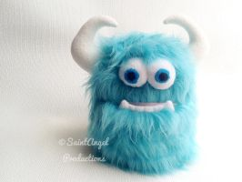 Teal Stuffed Monster Plush, Blue Fur Plushie by Saint-Angel