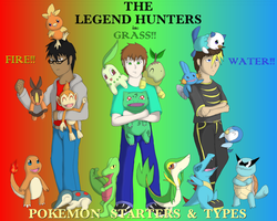 The Legend Hunters - Pokemon Starters and Types by Trinity-Reido
