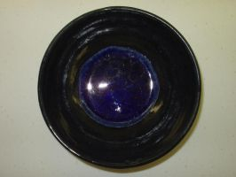 Ceramic Bowl with Blue Glass by panhead121