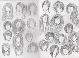 Hair Study- Females by Moon-Shyne