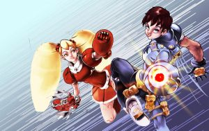 Megaman and Roll by kofab