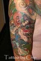 Chinese dancer with background by tattooedone