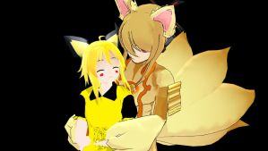 MMD Gijinka Pichu Gumi + Ninetales Gakupo Download by Nanashione