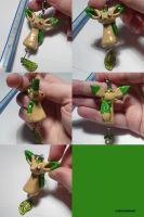 Leafeon Dangly Bead Charm by ChibiSilverWings