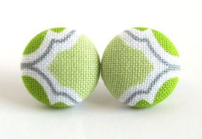 Green button earrings studs spring white gray grey by KooKooCraft