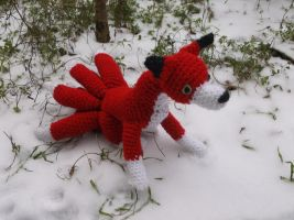 Nine Tailed Fox Amigurumi in Snow by ShadowOrder7