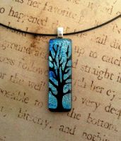 Blue Skies Tree of Life Long Fused Glass Necklace by FusedElegance