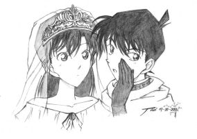 Shinichi and Ran by nightformiya