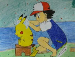 Ash is washing his Pika XD by Ash-Misty-Pikachu
