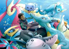 Dive with the pokemons by viewtiful94