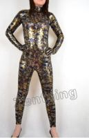 Yellow Fish Scale Shiny Metallic Catsuit by purplejessica