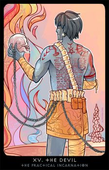 Planescape: Tarot. XV. The Devil by alphyna